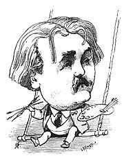 Portrait de Gustave Doré paru dans Le Trombinoscopede Touchatout en 1875.