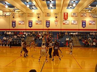 Houston Baptist Huskies men's basketball - A jump ball begins a game at Sharp Gymnasium on February 18, 2008 between the Houston Baptist Huskies and Dallas Christian Crusaders.