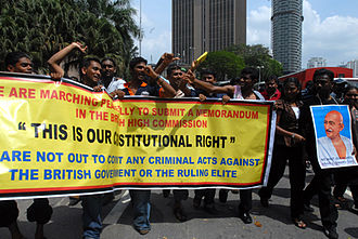 HINDRAF - HINDRAF carrying posters of Mahatma Gandhi and banners during a protest in Kuala Lumpur.
