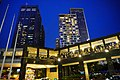HK WCD Wan Chai North Harbour Road Central Plaza visitors footbridge view blue sky night July 2021 S65.jpg