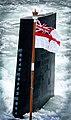 HMS Trafalgar, a Trafalgar Class Attack Submarine, on transit to the fleet review in Portsmouth Dockyard, part of the Trafalgar 200 celebrations. MOD 45145964.jpg