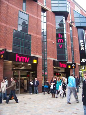 HMV - A large HMV branch in Leeds incorporating an Orange shop
