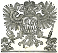 Habsburg Transylvanian coat of arms in the 1784 Romanian Greek Catholic Prayer Book.png