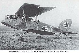 """Halberstadt CL.II - German Halberstadt CL.II 14207/17 """"3"""" of Schlasta 2. Note fairing for radio generator"""