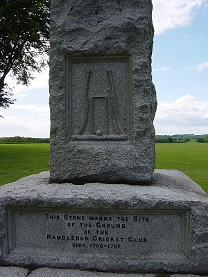 Broadhalfpenny Down - Hambledon Cricket Club monument at Broadhalfpenny Down