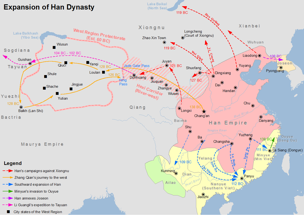 Huo Qubing's campaign against Xiongnu is shown in red Han Expansion.png