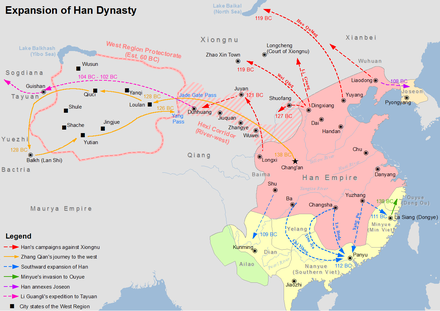 Map showing the expansion of Han dynasty in the 2nd century BC Han Expansion.png