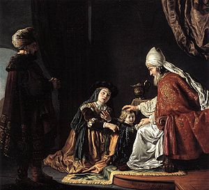 Eli (biblical figure) - 1645 painting by Jan Victors of Hannah presenting her son Samuel to Eli, who is seated on the right.