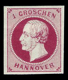 1 Groschen-Briefmarke von Hannover mit Porträt Georg V. (1859) (Quelle: Wikimedia)