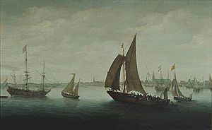 Hans Goderis - Two ships leaving the harbour, with Hoorn in the background, Westfries Museum