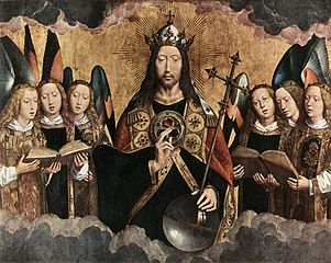 https://upload.wikimedia.org/wikipedia/commons/thumb/e/e1/Hans_Memling_-_Christ_Surrounded_by_Musician_Angels_-_WGA14935.jpg/301px-Hans_Memling_-_Christ_Surrounded_by_Musician_Angels_-_WGA14935.jpg