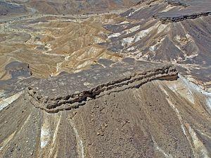 Mesa - Har Qatum, a mesa located on the southern edge of Makhtesh Ramon, Israel.