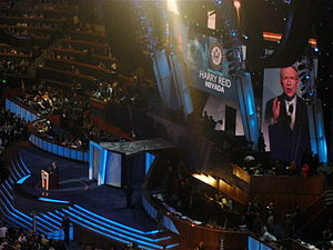 Reid speaks during the third night of the 2008 Democratic National Convention in Denver, Colorado. Harry Reid DNC 2008.jpg