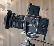 A Hasselblad 503CW with a digital camera back