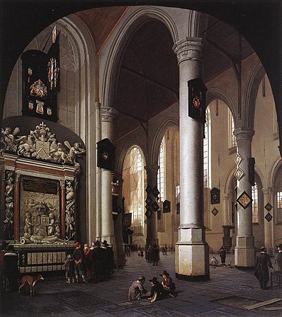 Hendrick Cornelisz. van Vliet - Interior of the Oude Kerk, Delft, with the Tomb of Admiral Tromp - WGA25272