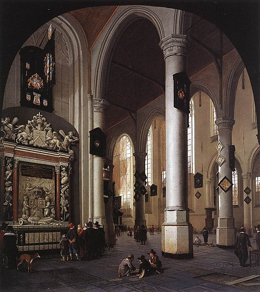 Hendrick Cornelisz. van Vliet - Interior of the Oude Kerk, Delft, with the Tomb of Admiral Tromp - WGA25272