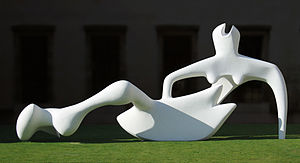 Reclining Figure 1938 - Fibreglass model outside the Fitzwilliam Museum, Cambridge, in 2004