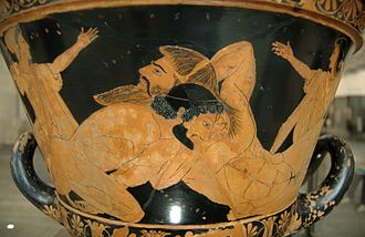 Euphronios - Louvre G 103: Heracles and Antaios on a chalice krater.
