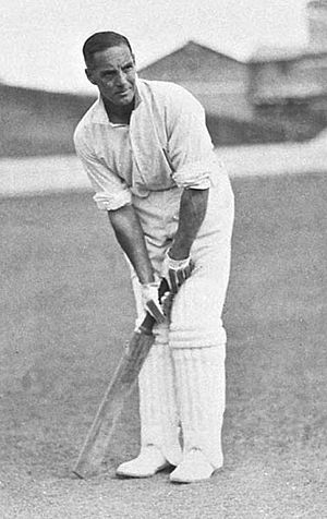 Len Hutton -  alt= A cricketer ready to bat.