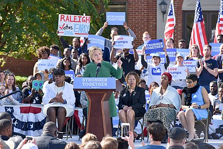 Clinton campaigns in Raleigh, North Carolina, October 22, 2016 Hillary Clinton Raleigh (29892054003).jpg