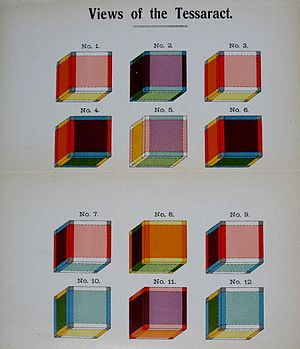 """Charles Howard Hinton - Frontispiece to Charles Howard Hinton's 1904 book The Fourth Dimension, illustrating the tesseract, the four-dimensional analog of the cube. Hinton's spelling varied: also known, as here, """"tessaract""""."""