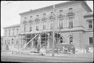 Hobart Town Hall - Hobart Town Hall undergoing repairs to its portico in 1925