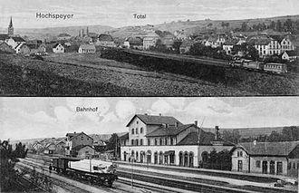 Hochspeyer station - Hochspeyer station (below) in 1921