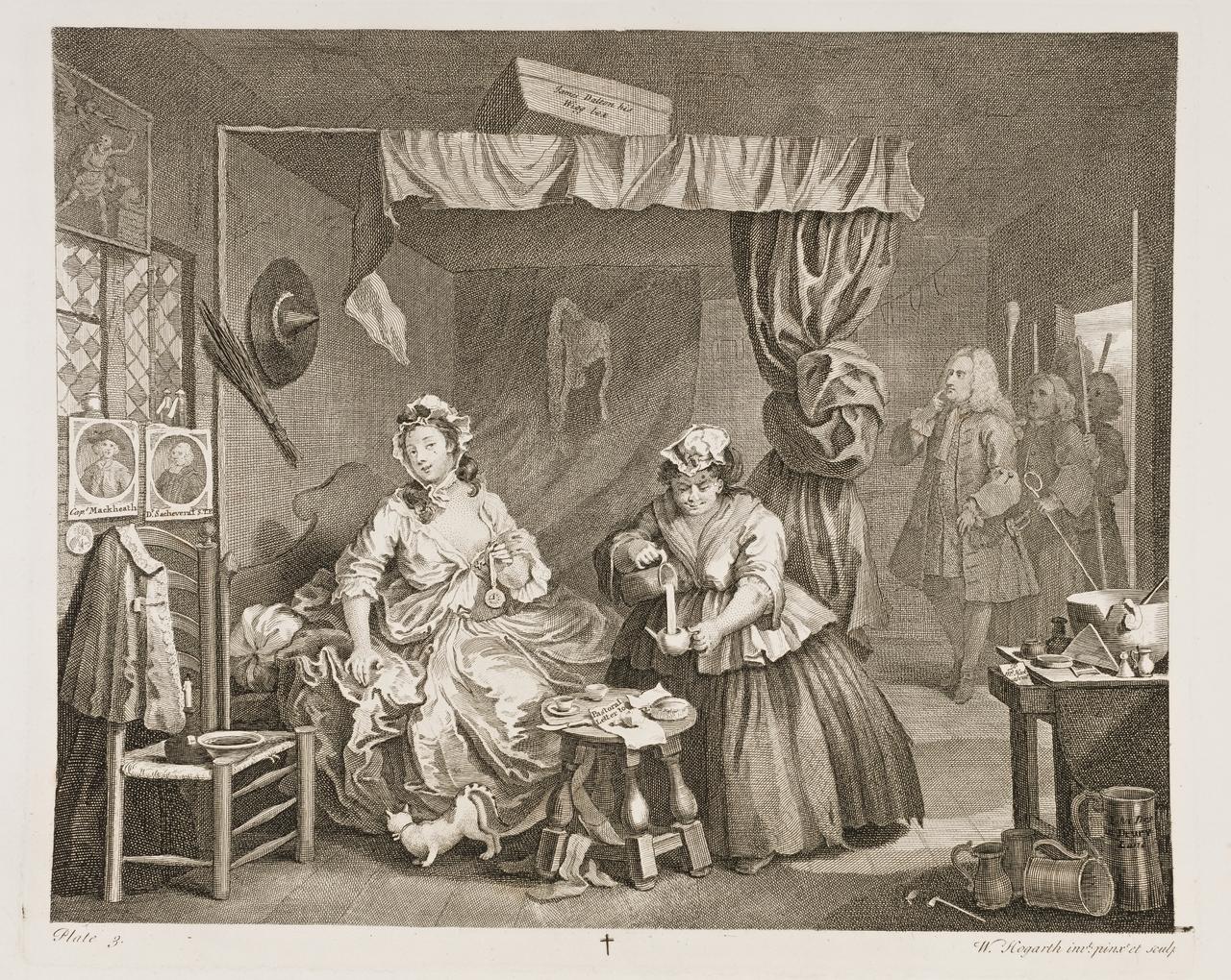 William Hogarth: A Harlot's Progress, Plate 3.