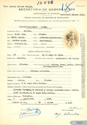 Judaism in Mexico - Immigrant registration form of a Jewish Lithuanian woman that emigrated to Mexico in 1934.