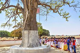 ff7e0c3210 People worshiping under holy sarna tree on the occasion of sarhul in  outskirts of Ranchi, Jharkhand.
