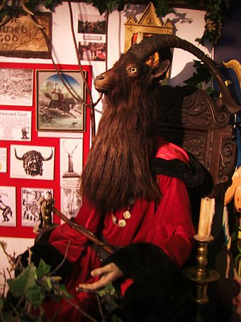 Sculpture of the Horned God of Wicca found in the Museum of Witchcraft in Boscastle, Cornwall Horned God.JPG