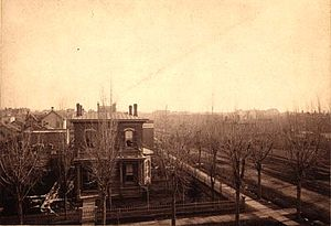 Frances Wisebart Jacobs - The home of Abraham and Frances Jacobs at the corner of 16th and Welton Streets (circa 1880) Denver, Colorado.