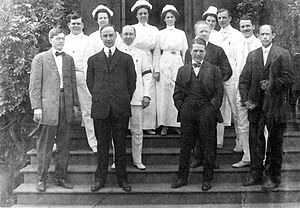 Samuel Guthrie (physician) - In 1912, Howard E. Bishop (front row, far left) was selected to serve as Robert Packer Hospital superintendent. Pictured with hospital staff, from left to right, (first row) Dr. Silas Molyneux, Dr. Donald Guthrie, and X-ray operator and photographer A.T. Weaver; (second row) Dr. George W. Hawk, Dr. Rufus Reeves, Dr. Walter E. Lundblad, Dr. Phillip Schwartz, and Dr. C. N. Haines; (third row) nurses Margaret Ohlman, Cleo Hollopeter, Julia Coyle, and Belle Spencer.