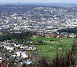 A view of Huddersfield Town from Castle Hill