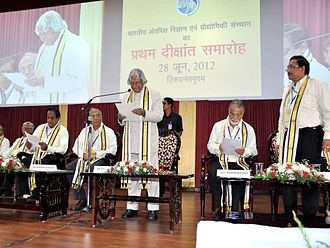 Indian Institute of Space Science and Technology - Dr.A. P. J. Abdul Kalam, Chancellor, IIST delivering the presidential address at the first convocation of IIST in 2012