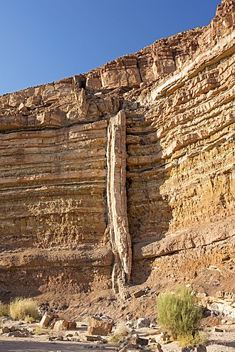 Dike (geology) - A magmatic dike cross-cutting horizontal layers of sedimentary rock, in Makhtesh Ramon, Israel