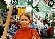 Use of the V-sign during an L.A. anti-war protest rally in February 2003.
