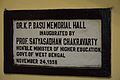 Inaugural Plaque - Dr K P Basu Memorial HallEngineering Science Building - Jadavpur University - Kolkata 2015-01-08 2464.JPG