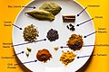 Indian spices with labels (garam masala components) (49684333301).jpg
