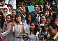 Indonesian students react to a Michael Jackson tribute performed by the U.S. 7th Fleet Band during a concert for Cooperation Afloat Readiness and Training (CARAT) 2011 at SMAN-21 High School in Jakarta 110527-N-VP123-669.jpg