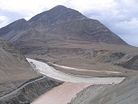 Confluence of Indus and Zanskar rivers, Ladakh, Jammu and Kashmir.