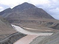 Confluence of Indus and Zanskar rivers, Ladakh, Kashmir.