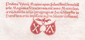 Mainz Psalter - Printer's mark of Johann Fust and Peter Schoeffer