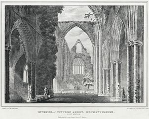 Interior of Tintern Abbey, Monmouthshire. West Window