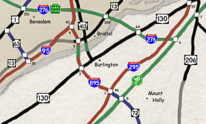Interstate 895 (New Jersey–Pennsylvania) - Map of proposed route of I-895 between I-95 and I-295, with the additional proposed extension of the NJ Route 72 Freeway