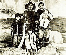 Inuit actress Columbia Eneutseak with family, 1911.jpeg