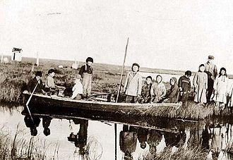 Kuskokwim River - Yup'ik at Moravian Mission Station at Kuskokwim River in the year 1900