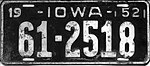 Iowa 1952 license plate - Number 61-2518.jpg