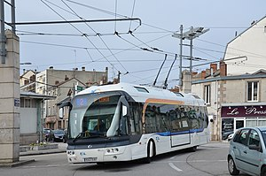 Trolleybuses in Limoges - A Cristalis ETB 12 trolleybus at the line 2 at Place Carnot, 2015.