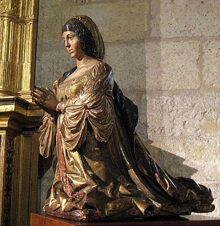 Statue of Isabella by Felipe Bigarny; it resides in the Capilla Real, in Granada Isabella by Bigarny01.jpg